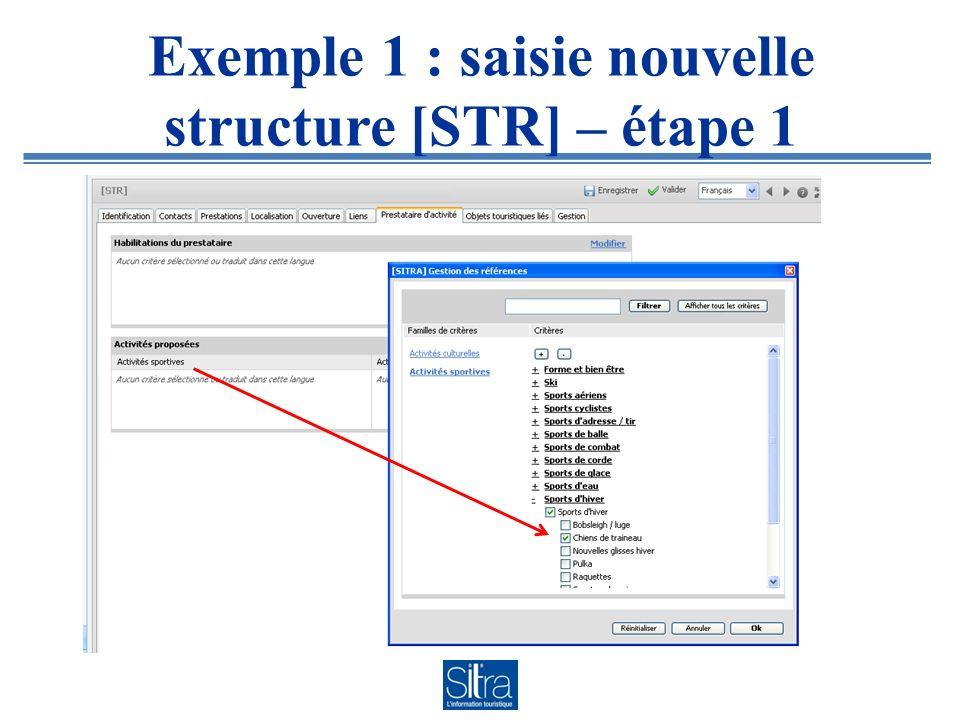 Exemple 1 : saisie nouvelle structure [STR] – étape 1